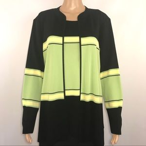 Exclusively Misook Twinset Black Green Cardi Tank